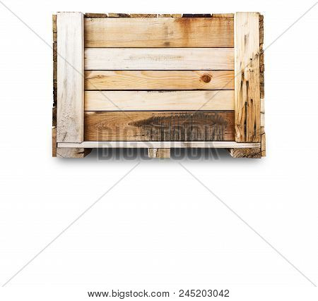 Wood Pallets - crates for transportation - Strong cargo security - isolated white background - copy space stock photo