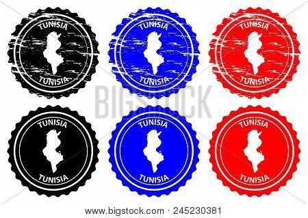 Tunisia - rubber stamp - vector, Republic of Tunisia map pattern - sticker - black, blue and red stock photo