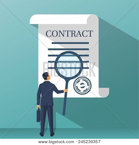 Businessman holding magnifying glass, studying terms of agreement. Signing business document. Inspection legal paper. Successful deal. Vector illustration flat design. Isolated on background. stock photo