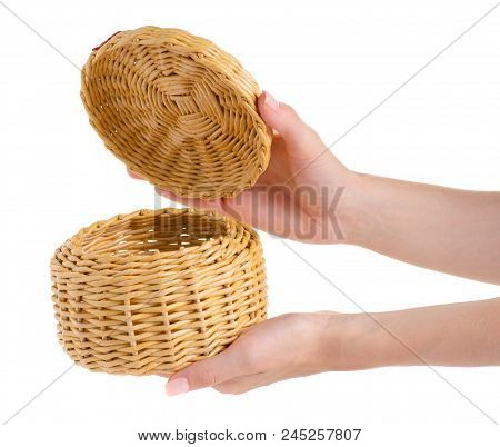 Casket of a vine in a hand on a white background isolation stock photo