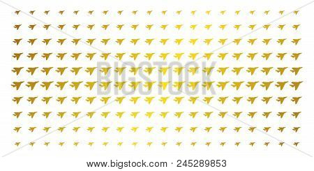 Airplane intercepter icon golden halftone pattern. Vector airplane intercepter items are arranged into halftone matrix with inclined golden gradient. Designed for backgrounds, covers, stock photo
