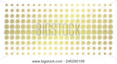 Hypnosis icon gold colored halftone pattern. Vector hypnosis shapes are arranged into halftone matrix with inclined golden gradient. Designed for backgrounds, covers, templates and bright effects. stock photo