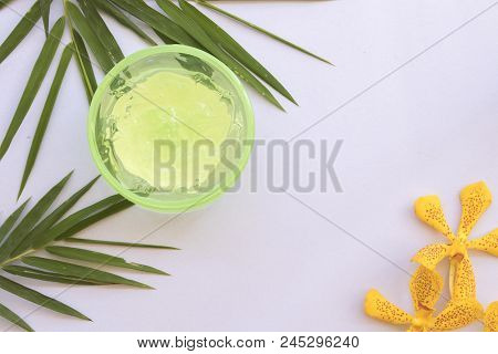 natural herbal soothing gel bamboo for skin face on background white stock photo