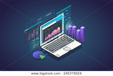 Finance Analysis Computer Application. Isometric Laptop With Chart And Financial Growth Graph. Big D