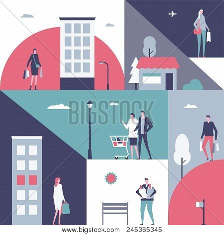 Shopping - flat design style illustration. Cartoon characters, women, men standing with their packages, trolley, baskets full of products. Unusual geometric composition stock photo