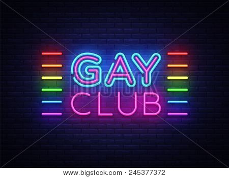 Gay club neon sign vector. Gay Club design template neon sign, light banner, neon signboard, nightly bright advertising, light inscription. Vector illustration. stock photo