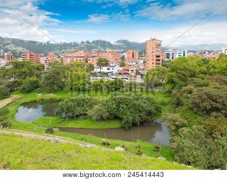 panorama of Cuenca from the Pumapungo park Ecuador stock photo