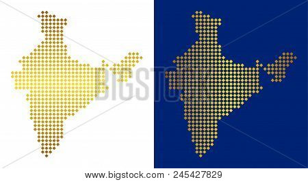 Gold Colored rhombic India map. Vector territory maps in bright colors with vertical and horizontal gradients. Abstract collage of India map done of rhombic pixels. stock photo