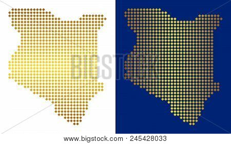 Gold dotted Kenya map. Vector geographic maps in yellow colors with vertical and horizontal gradients. Abstract concept of Kenya map done of rhombic parts. stock photo