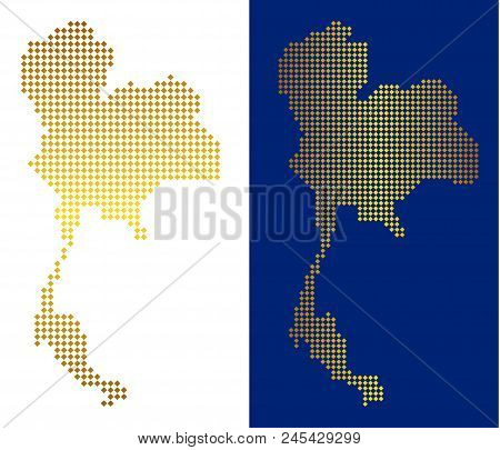 Gold dot Thailand map. Vector geographical maps in golden colors with vertical and horizontal gradients. Abstract collage of Thailand map composed of rhombus parts. stock photo