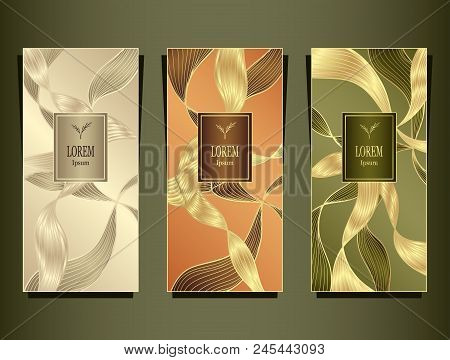 Set Template for package or flyer or label from Luxury background made by foil abstract ribbons waves hair in gold beige peachy olive  for cosmetic or perfume or for hair dye or  for brand book stock photo