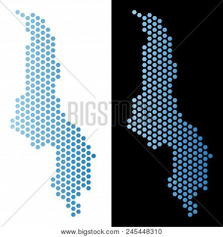 Hex-Tile Malawi map. Vector geographic scheme in light blue color with horizontal gradient on white and black backgrounds. Abstract Malawi map mosaic is done with honeycomb pixels. stock photo
