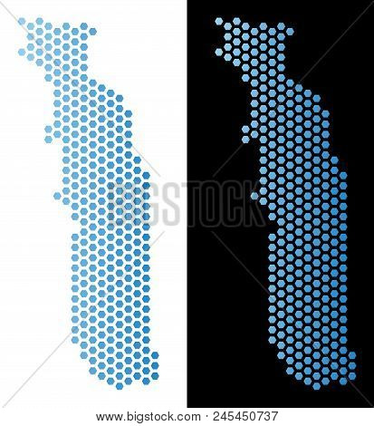 Hex-Tile Togo map. Vector territorial plan in light blue color with horizontal gradient on white and black backgrounds. Abstract Togo map mosaic is composed from hexagon dots. stock photo