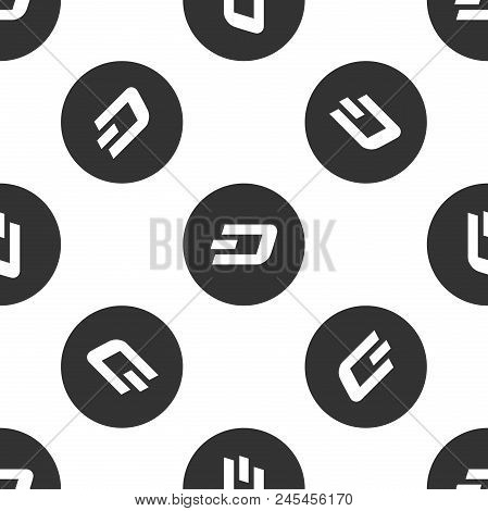 Cryptocurrency coin Dash icon seamless pattern on white background. Physical bit coin. Digital currency. Altcoin symbol. Blockchain based secure crypto currency. Flat design. Vector Illustration stock photo