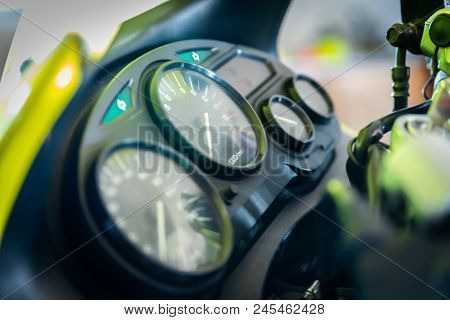 Speedometer and tachometer of a motorcycle. Motobike dashboard stock photo