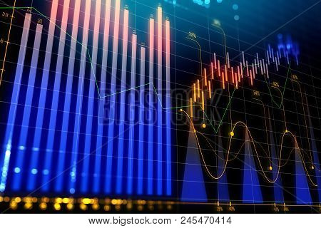 Investment, trade and blockchain concept. Creative glowing forex chart background. 3D Rendering stock photo