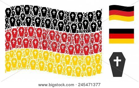 Waving Germany official flag. Vector coffin elements are arranged into geometric Germany flag composition. Patriotic composition constructed of flat coffin icons. stock photo