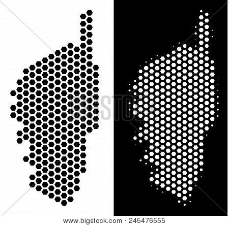 Hex Tile Corsica France Island map. Vector geographic plan in black and white versions. Abstract Corsica France Island map composition is constructed from honeycomb items. stock photo