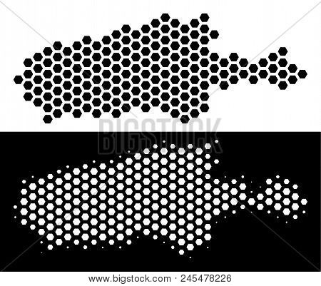 Hexagon Kangaroo Island map. Vector territorial scheme in black and white versions. Abstract Kangaroo Island map mosaic is containing hexagonal pixels. stock photo