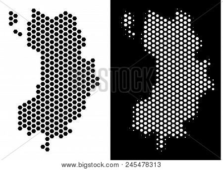 Hexagon Koh Tao Thai Island map. Vector territory scheme in black and white versions. Abstract Koh Tao Thai Island map composition is constructed from hexagonal spots. stock photo