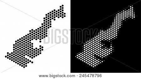 Hex Tile Monaco map. Vector geographic scheme in black and white versions. Abstract Monaco map mosaic is constructed from hex-tile blots. stock photo