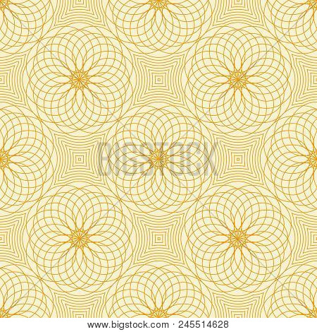 Abstract vector seamless moire pattern with lines. Spirograph geometric repeating texture. stock photo