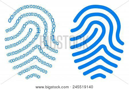Fingerprint mosaic icon of zero and one symbols in various sizes. Vector digits are randomized into fingerprint collage design concept. stock photo