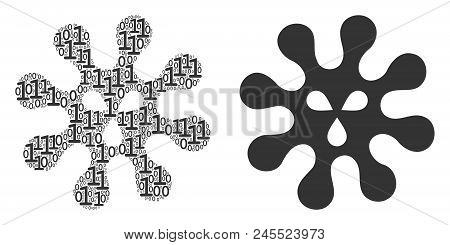 Virus mosaic icon of zero and null digits in random sizes. Vector digital symbols are combined into virus illustration design concept. stock photo