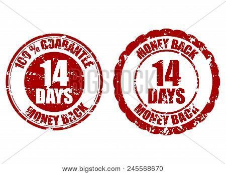 Money back guarantee 14 days rubber stamp. Fourteen days repay, riskfree refund, return money illustration stock photo