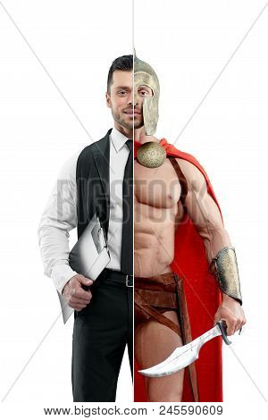 Comparison of manager and ancient warrior's outlook. Manager wearing classic white shirt with black tie and keeping black folder. Ancient Spartan warrior wearing red cape and holding a matallic sword. stock photo