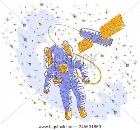 Astronaut went out into open space connected to space station, spaceman floating in weightlessness and iss spacecraft surrounded by undiscovered planets, stars and comets. Vector illustration. stock photo