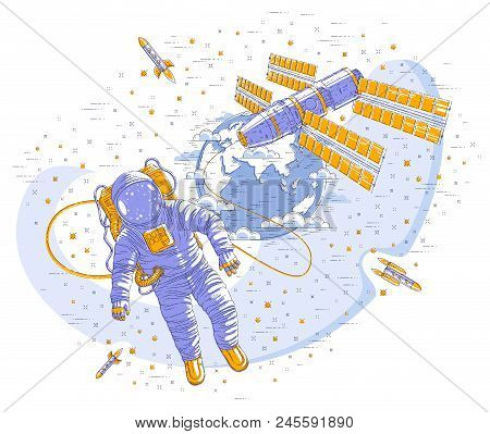 Spaceman flying open space connected to space station and earth planet in background, astronaut man or woman in spacesuit floating in weightlessness and spacecraft, stars and other elements. Vector. stock photo