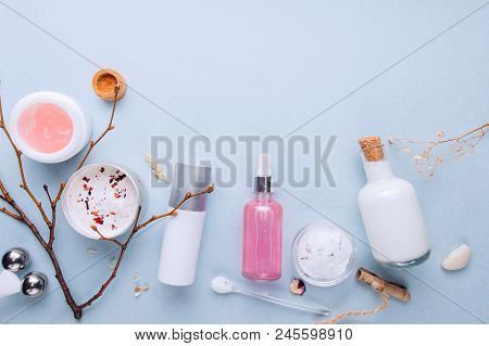 Organic bio cosmetics with herbal ingredients. Natural extracts, oils, serum. Copy Space, flat lay, top view stock photo