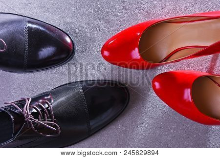 Composition with a pair of red high heel shoes. stock photo