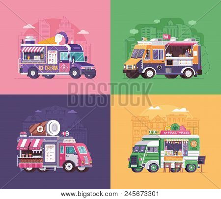 City fast food trucks and wagons set in flat design. Ice cream parlor, coffee van and summer juice caravan backgrounds. Street food festival cars with drinks and snacks on wheels. stock photo