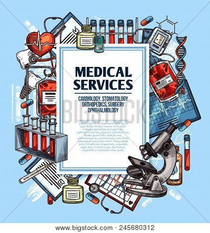 Medical service sketch poster for cardiology, surgery and dentistry, orthopedics and ophthalmology medicine. Heart, stethoscope and thermometer, pill, blood and microscope, tooth implant and DNA icon stock photo