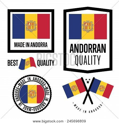 Andorra quality isolated label set for goods. Exporting stamp with andorran flag, nation manufacturer certificate element, country productemblem. Made in Andorra badge collection. stock photo