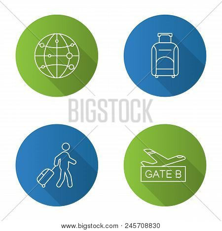 Airport service flat linear long shadow icons set. Route map, baggage, passenger, airport gate. Vector outline illustration stock photo