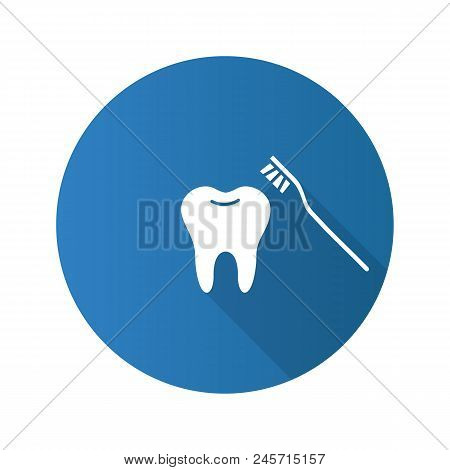 Correct teeth brushing flat design long shadow glyph icon. Tooth with toothbrush. Vector silhouette illustration stock photo