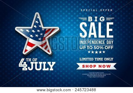 Fourth of July. Independence Day Sale Banner Design with Flag in 3d Star on Dark Background. USA National Holiday Vector Illustration with Special Offer Typography Elements for Coupon, Voucher, Banner, Flyer, Promotional Poster or greeting card stock photo