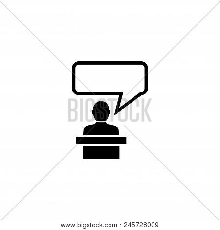 Orator Speaking from Tribune, Speaker. Flat Vector Icon illustration. Simple black symbol on white background. Orator Speaking from Tribune, Speaker sign design template for web and mobile UI element stock photo