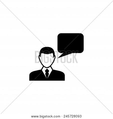 Speaking Man. Flat Vector Icon illustration. Simple black symbol on white background. Speaking Man sign design template for web and mobile UI element stock photo