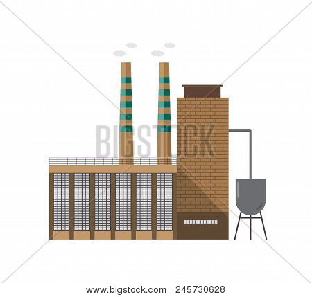 Modern industrial factory building or boiler house with pipe emitting vapor isolated on white background. Facade of centralized heating plant. Cartoon colorful vector illustration in flat style stock photo