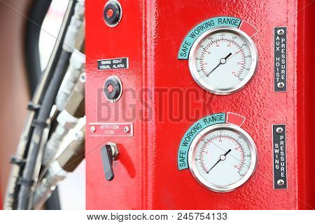 Hydraulic load indicator in control room, Gauge display to show status of hydraulic system and monitor by operator or expert, Maintenance routine job of the hydraulic system and other equipment. stock photo