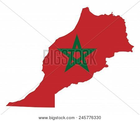 National flag of Morocco in the country silhouette. Moroccan state ensign. Red field and green pentagram. Sovereign state in Maghreb region of North Africa. Isolated illustration over white. Vector. stock photo