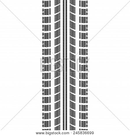 Blavk tire track silhouette isolated on white background with different tires inside stock photo