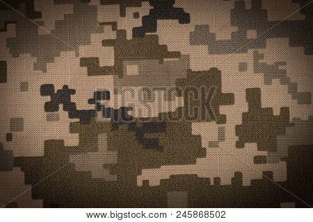 Universal camouflage pattern army combat uniform digital camo. Top view. stock photo