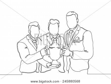 Continuous one drawn single line winning cup in the hands of the winner team . Concept cup, winner, business, finance, winning cup, sport, champion, victory, win, success, trophy, businessman . stock photo