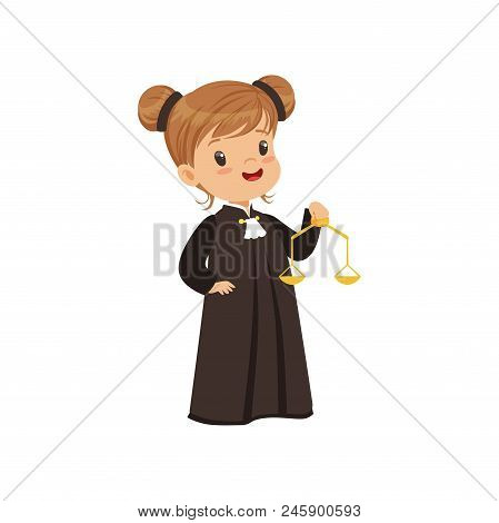 Cute judge girl cartoon character holding golden scales of justice vector Illustration isolated on a white background. stock photo