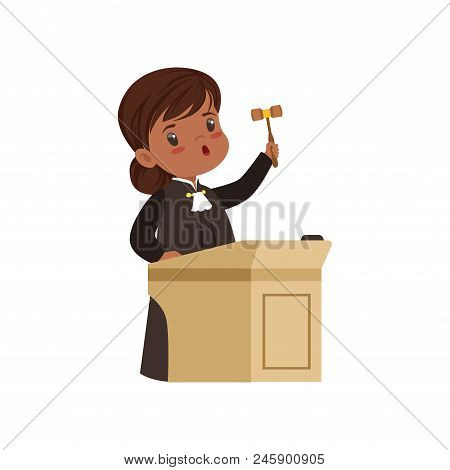 Cute judge girl cartoon character standing at tribunal with gavel vector Illustration isolated on a white background. stock photo